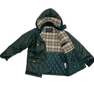 Zippy Deep Green Plaid Lined Rain Coat